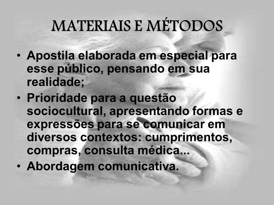 MATERIAIS E MÉTODOS Apostila elaborada em especial para esse público, pensando em sua realidade;