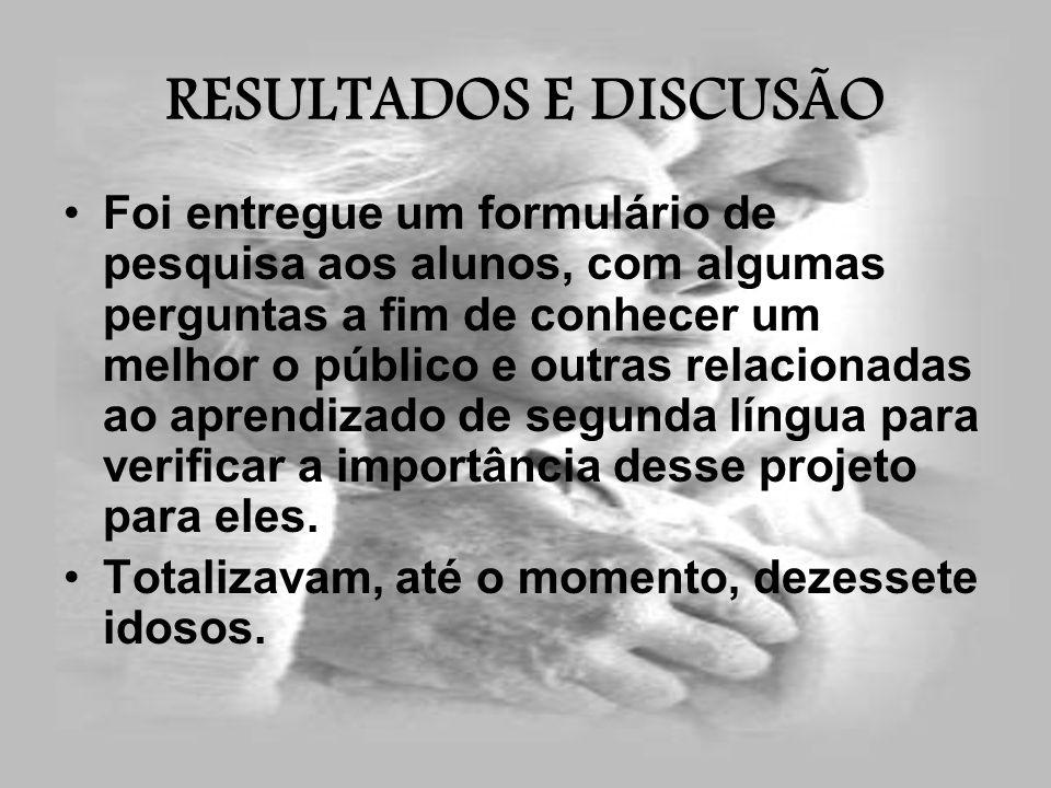 RESULTADOS E DISCUSÃO