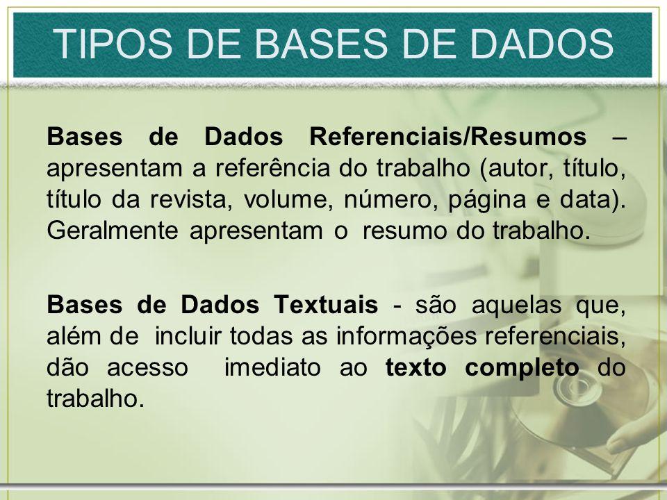 TIPOS DE BASES DE DADOS