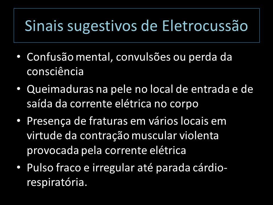 Sinais sugestivos de Eletrocussão