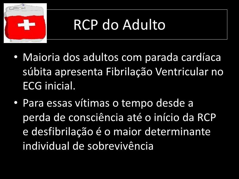 RCP do Adulto Maioria dos adultos com parada cardíaca súbita apresenta Fibrilação Ventricular no ECG inicial.