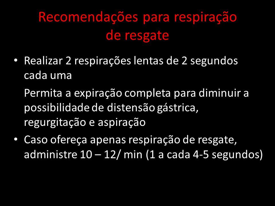 Recomendações para respiração de resgate