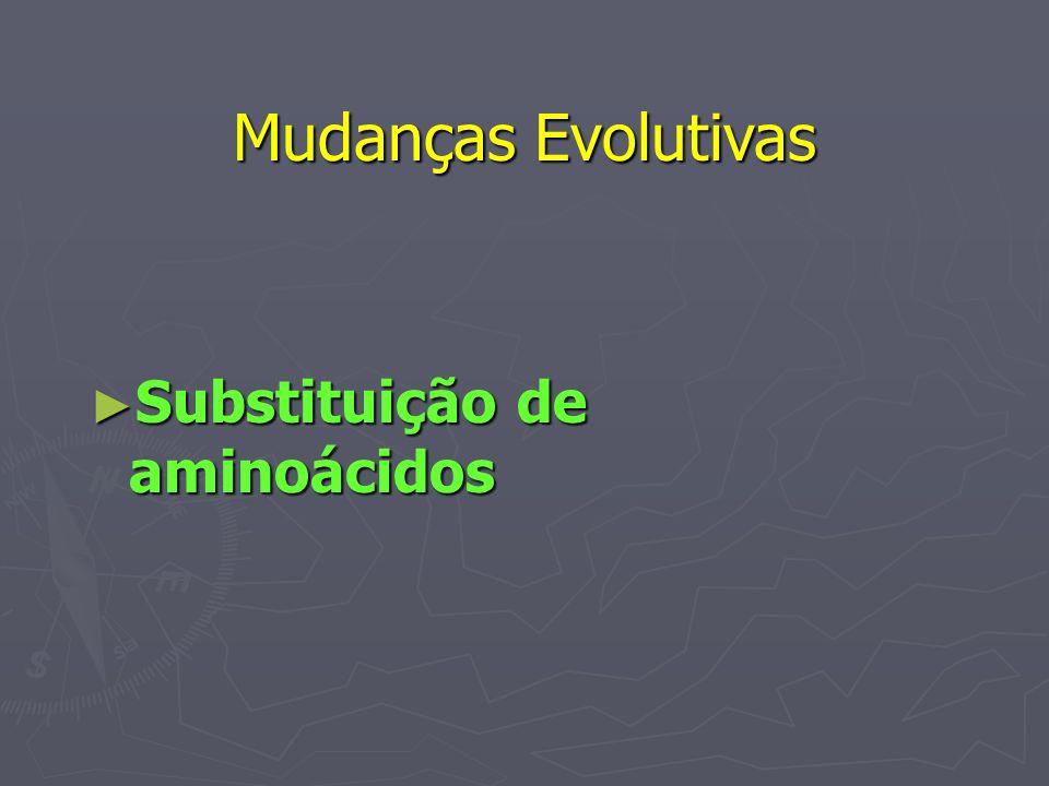 Mudanças Evolutivas Substituição de aminoácidos