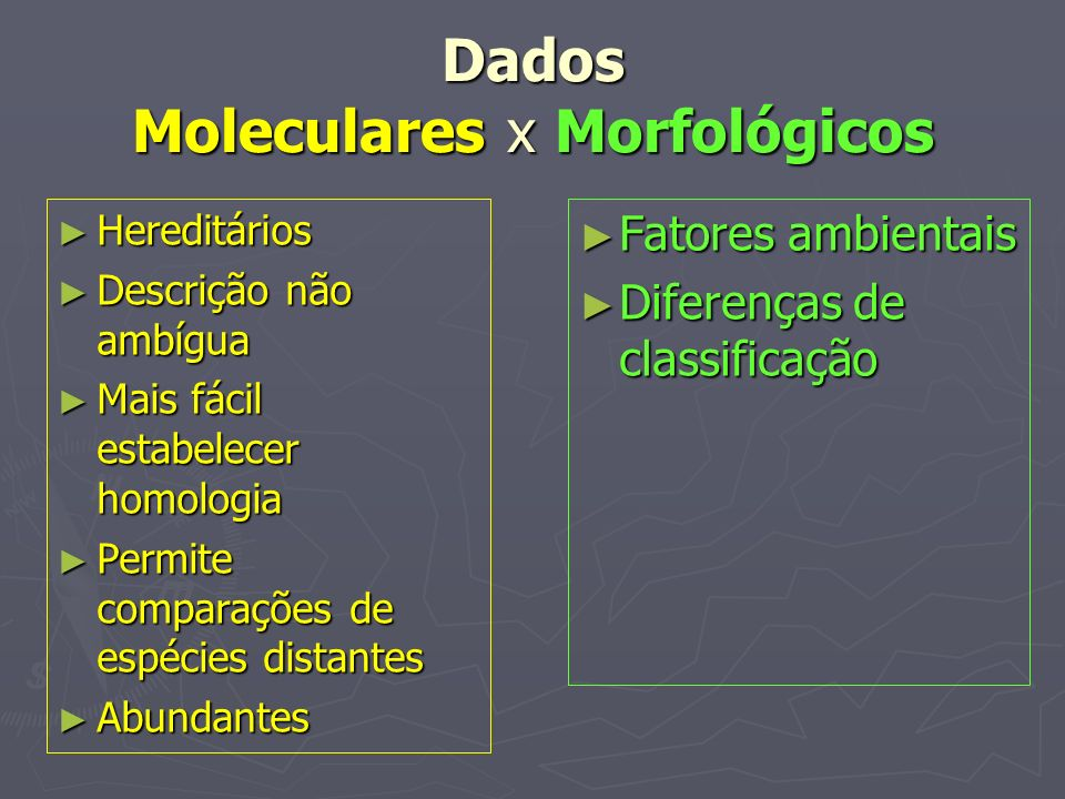 Dados Moleculares x Morfológicos