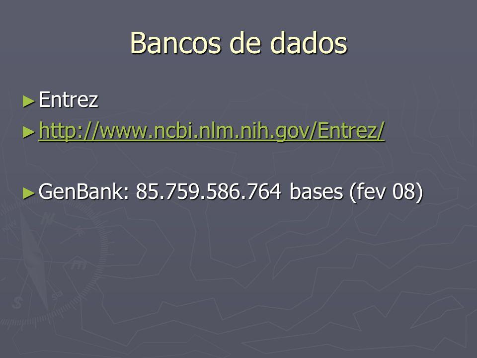 Bancos de dados Entrez http://www.ncbi.nlm.nih.gov/Entrez/