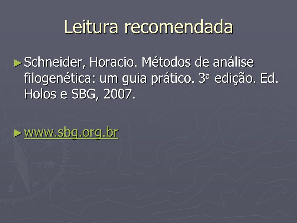 Leitura recomendada Schneider, Horacio. Métodos de análise filogenética: um guia prático. 3a edição. Ed. Holos e SBG, 2007.