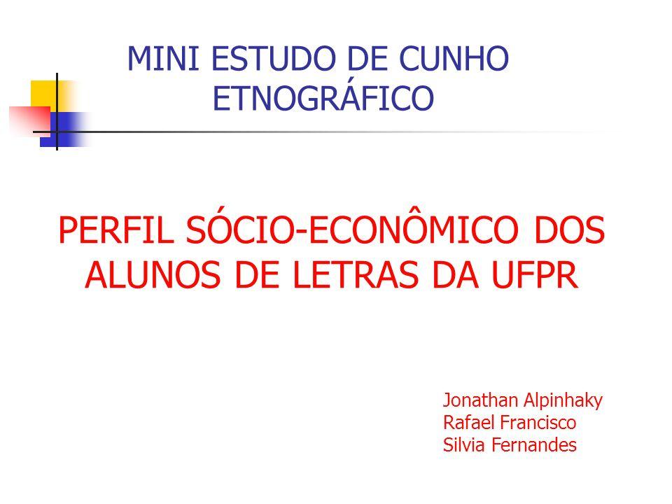 PERFIL SÓCIO-ECONÔMICO DOS ALUNOS DE LETRAS DA UFPR