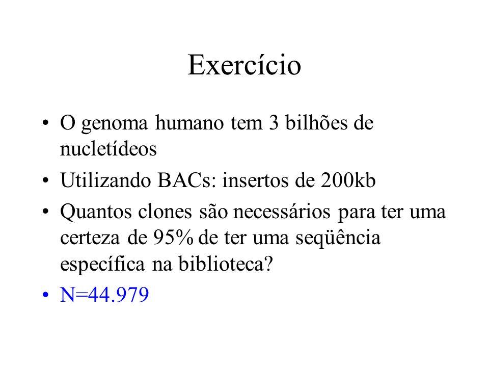 Exercício O genoma humano tem 3 bilhões de nucletídeos