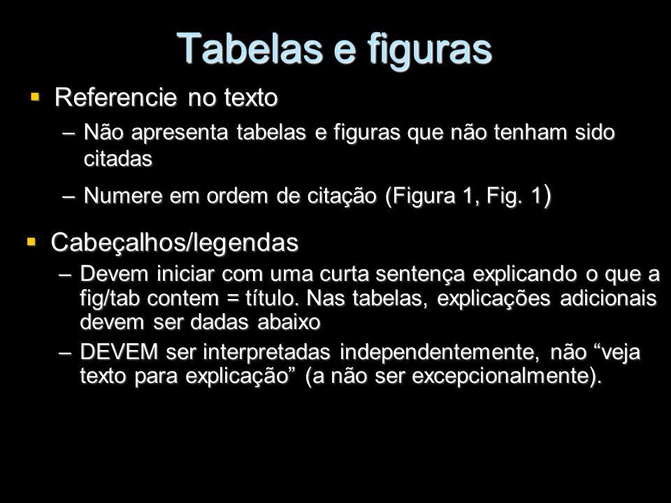 Tabelas e figuras Referencie no texto Cabeçalhos/legendas
