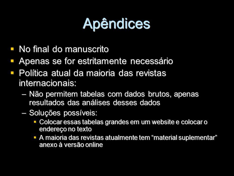 Apêndices No final do manuscrito Apenas se for estritamente necessário