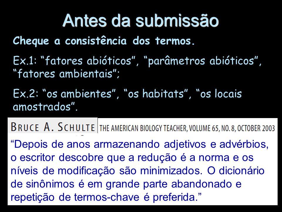 Antes da submissão Cheque a consistência dos termos.