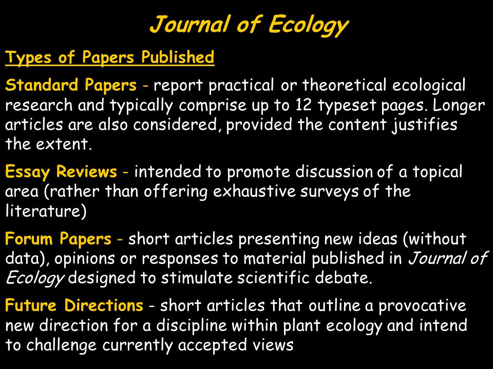 Journal of Ecology Types of Papers Published