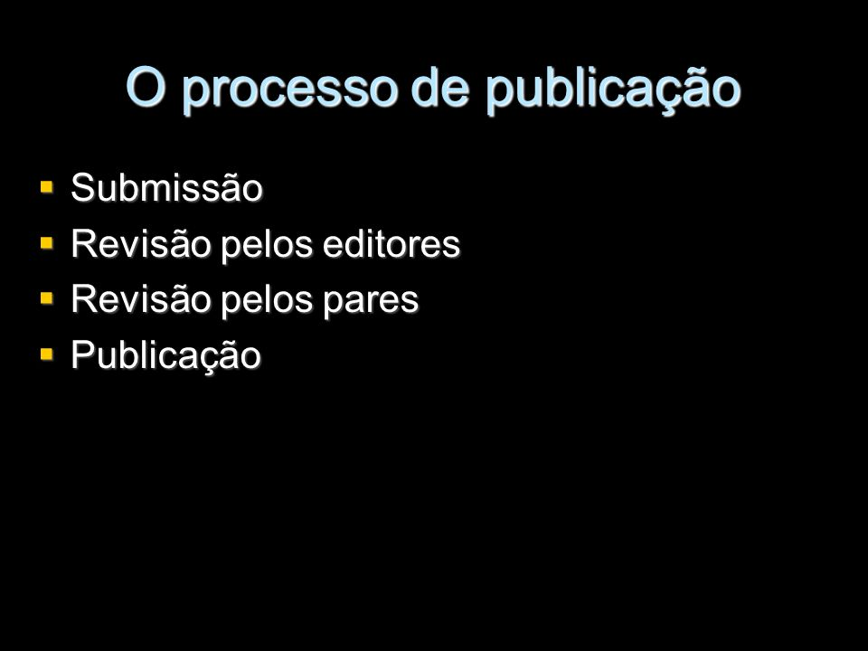 O processo de publicação