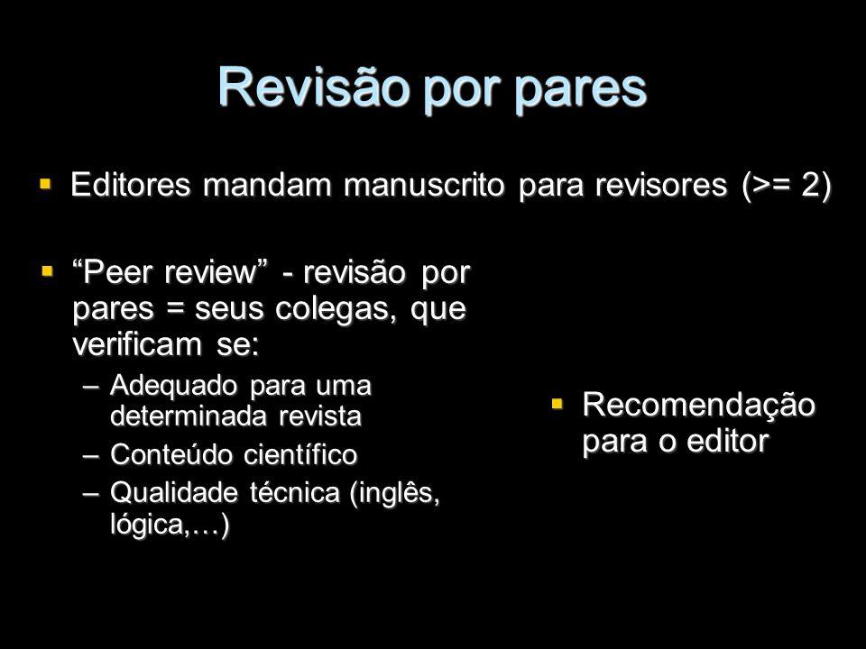 Revisão por pares Editores mandam manuscrito para revisores (>= 2)
