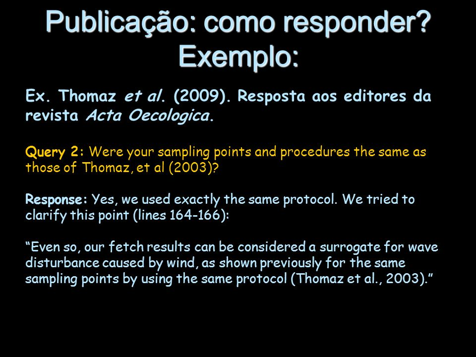 Publicação: como responder Exemplo: