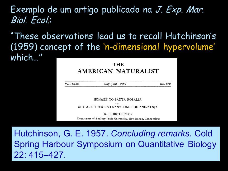 Exemplo de um artigo publicado na J. Exp. Mar. Biol. Ecol.: