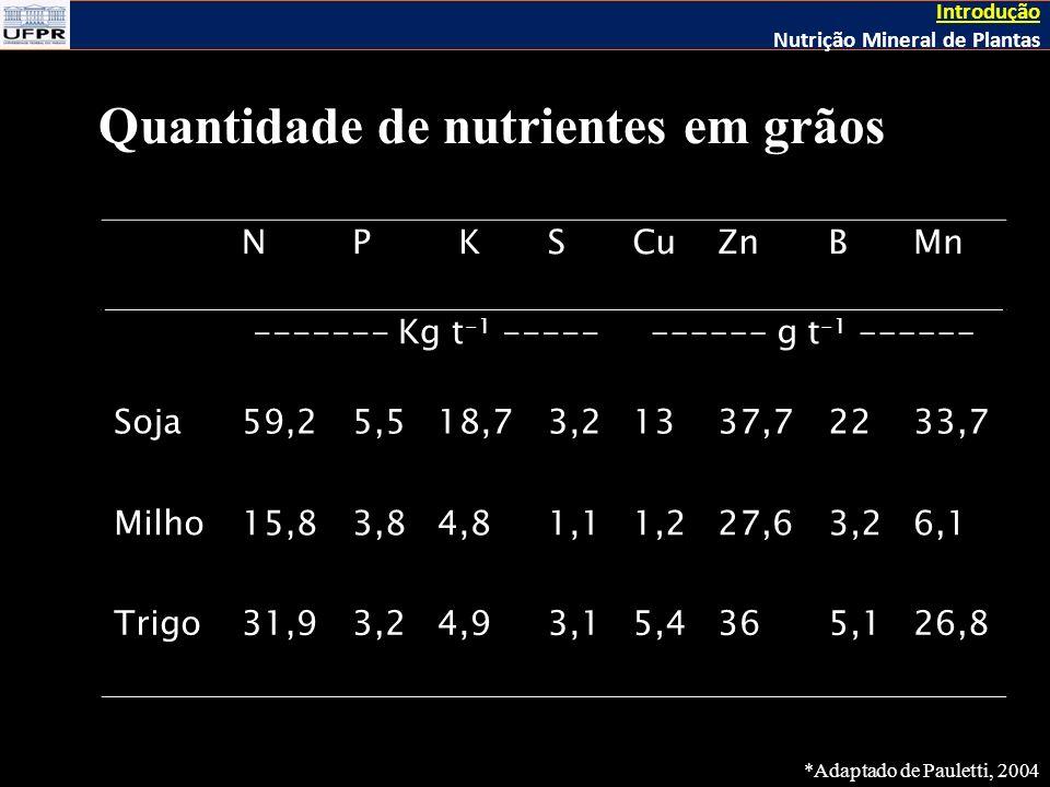 Quantidade de nutrientes em grãos