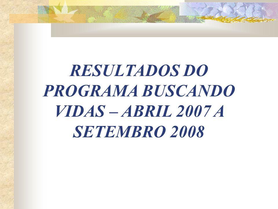 RESULTADOS DO PROGRAMA BUSCANDO VIDAS – ABRIL 2007 A SETEMBRO 2008