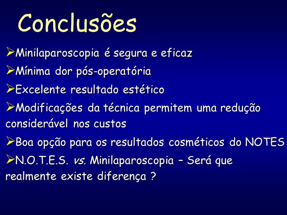 Conclusões Minilaparoscopia é segura e eficaz