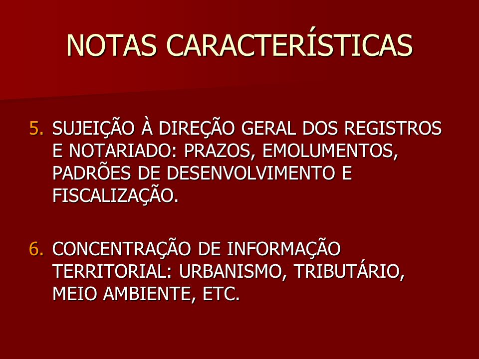 NOTAS CARACTERÍSTICAS