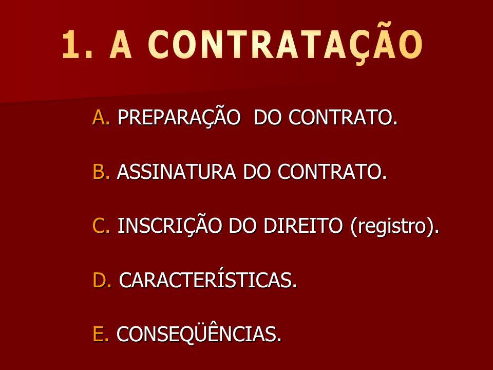 1. A CONTRATAÇÃO A. PREPARAÇÃO DO CONTRATO. B. ASSINATURA DO CONTRATO.