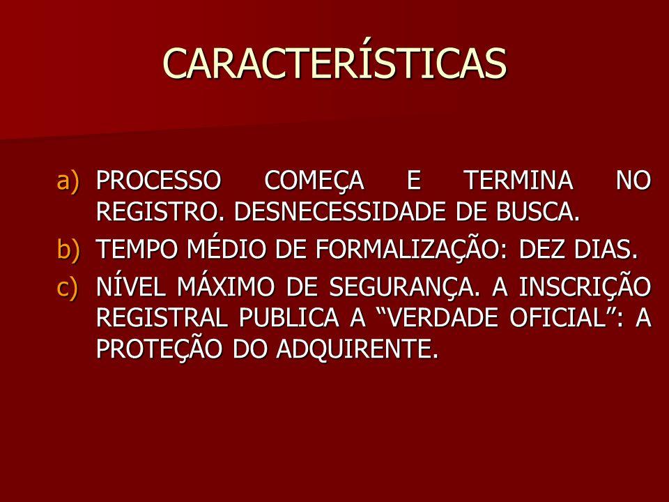 CARACTERÍSTICAS PROCESSO COMEÇA E TERMINA NO REGISTRO. DESNECESSIDADE DE BUSCA. TEMPO MÉDIO DE FORMALIZAÇÃO: DEZ DIAS.
