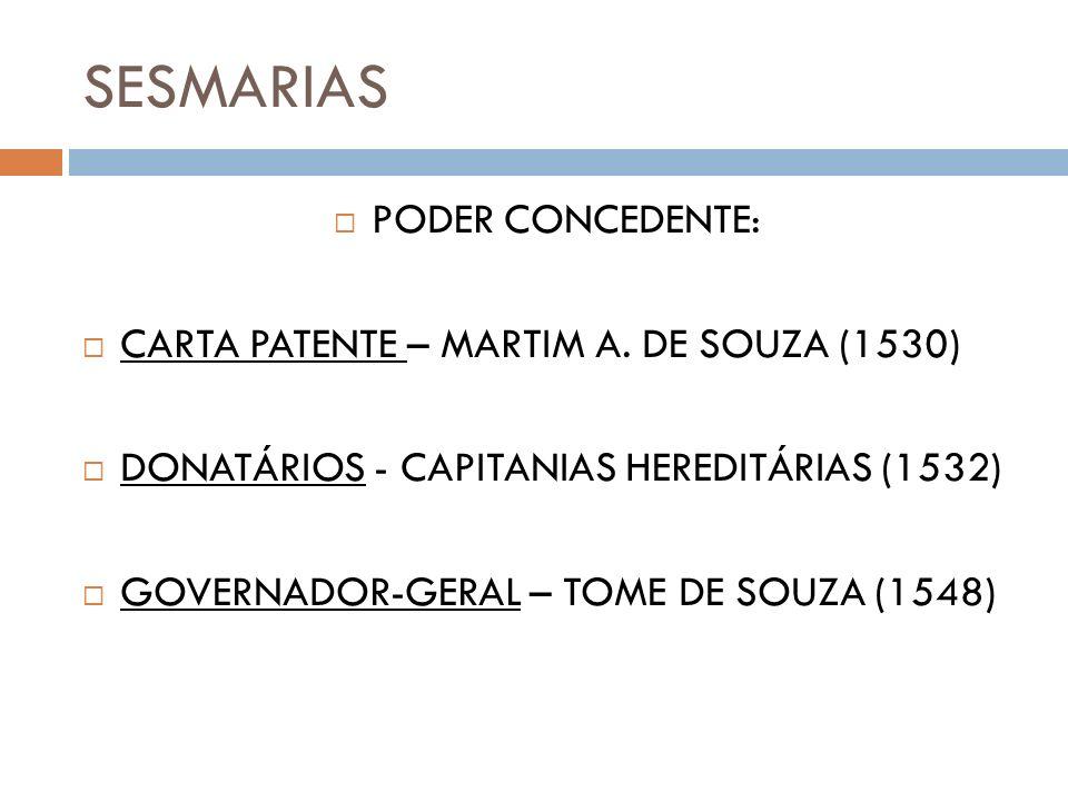 SESMARIAS PODER CONCEDENTE: CARTA PATENTE – MARTIM A. DE SOUZA (1530)