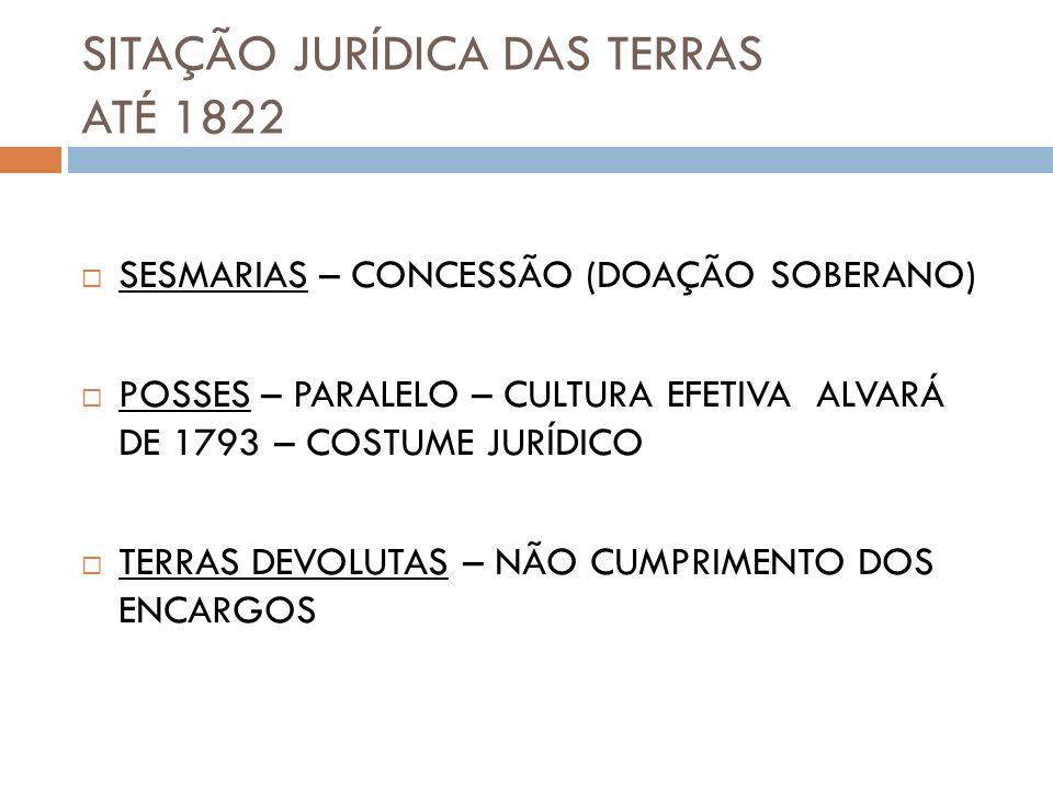 SITAÇÃO JURÍDICA DAS TERRAS ATÉ 1822