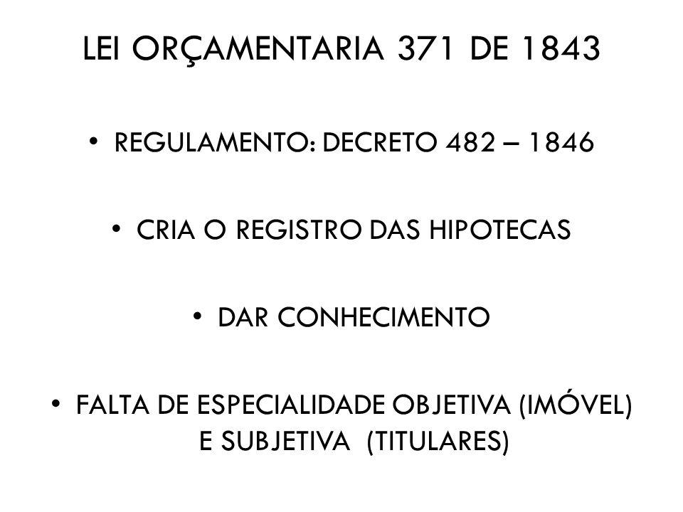 LEI ORÇAMENTARIA 371 DE 1843 REGULAMENTO: DECRETO 482 – 1846
