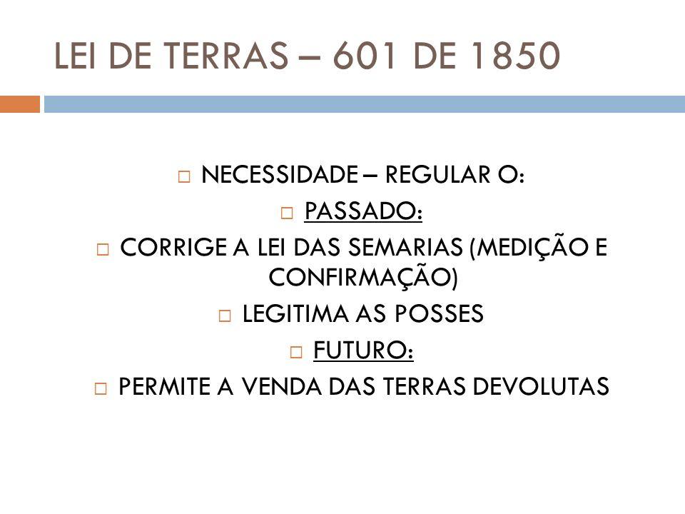 LEI DE TERRAS – 601 DE 1850 NECESSIDADE – REGULAR O: PASSADO: