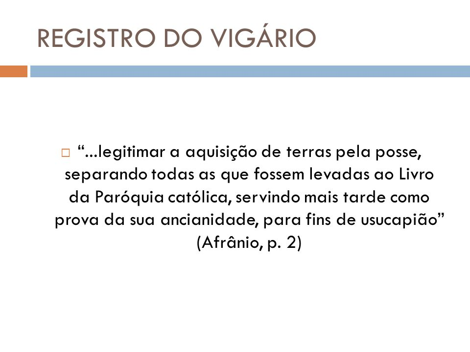 REGISTRO DO VIGÁRIO