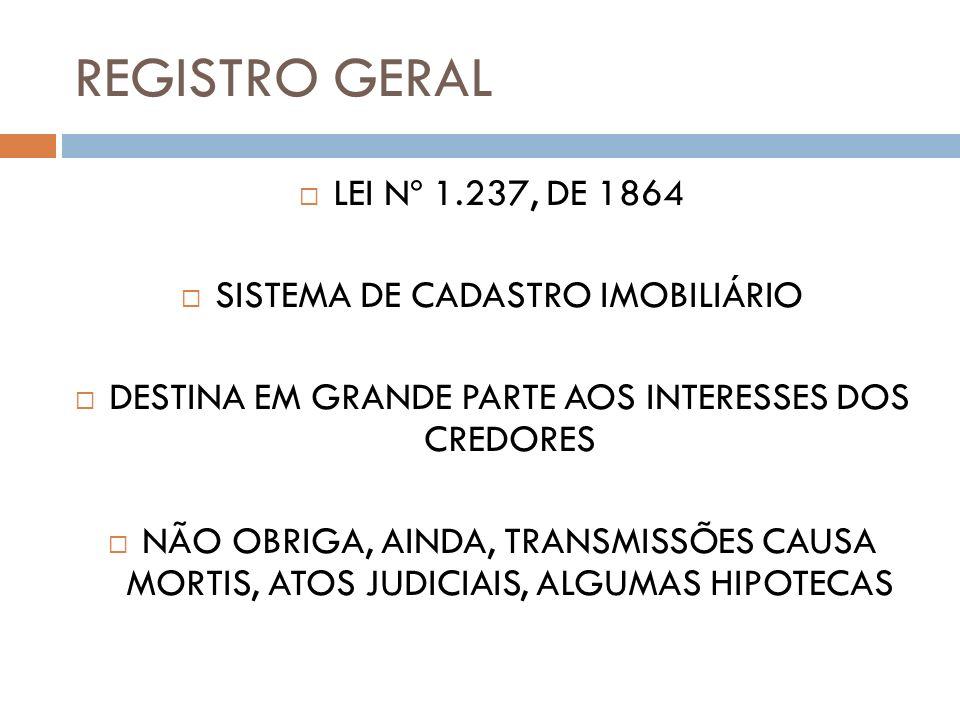 REGISTRO GERAL LEI Nº 1.237, DE 1864 SISTEMA DE CADASTRO IMOBILIÁRIO