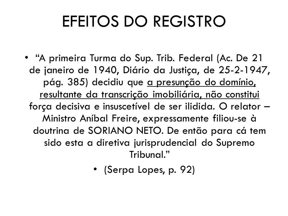 EFEITOS DO REGISTRO
