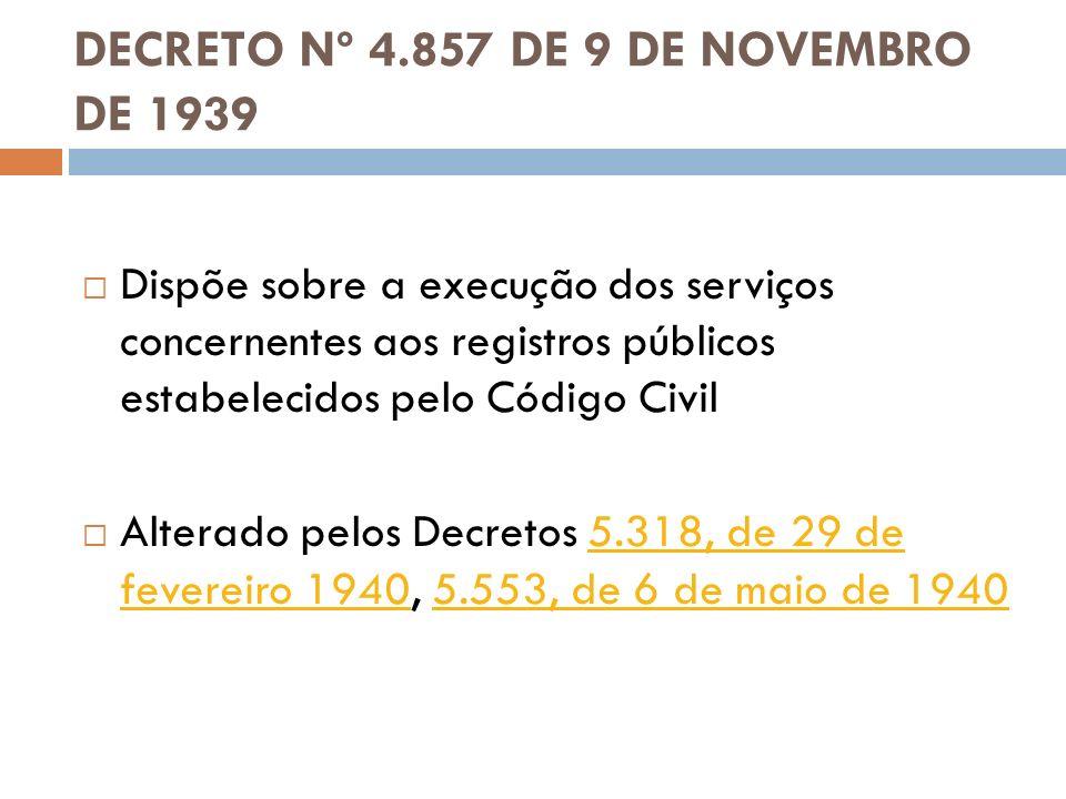 DECRETO Nº 4.857 DE 9 DE NOVEMBRO DE 1939