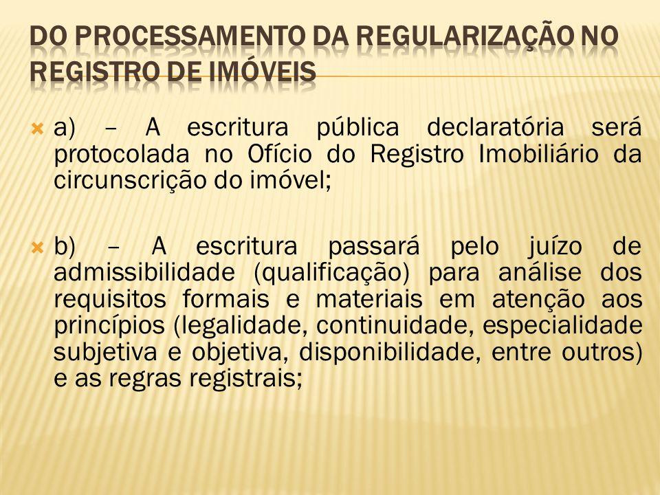 Do processamento da regularização no Registro de Imóveis