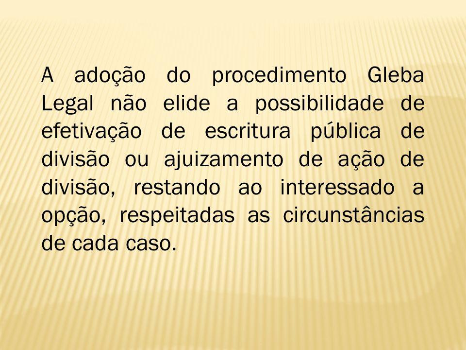 A adoção do procedimento Gleba Legal não elide a possibilidade de efetivação de escritura pública de divisão ou ajuizamento de ação de divisão, restando ao interessado a opção, respeitadas as circunstâncias de cada caso.
