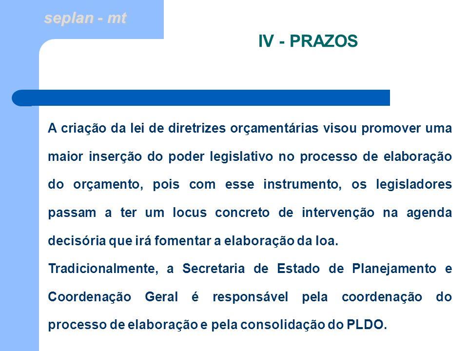 IV - PRAZOS