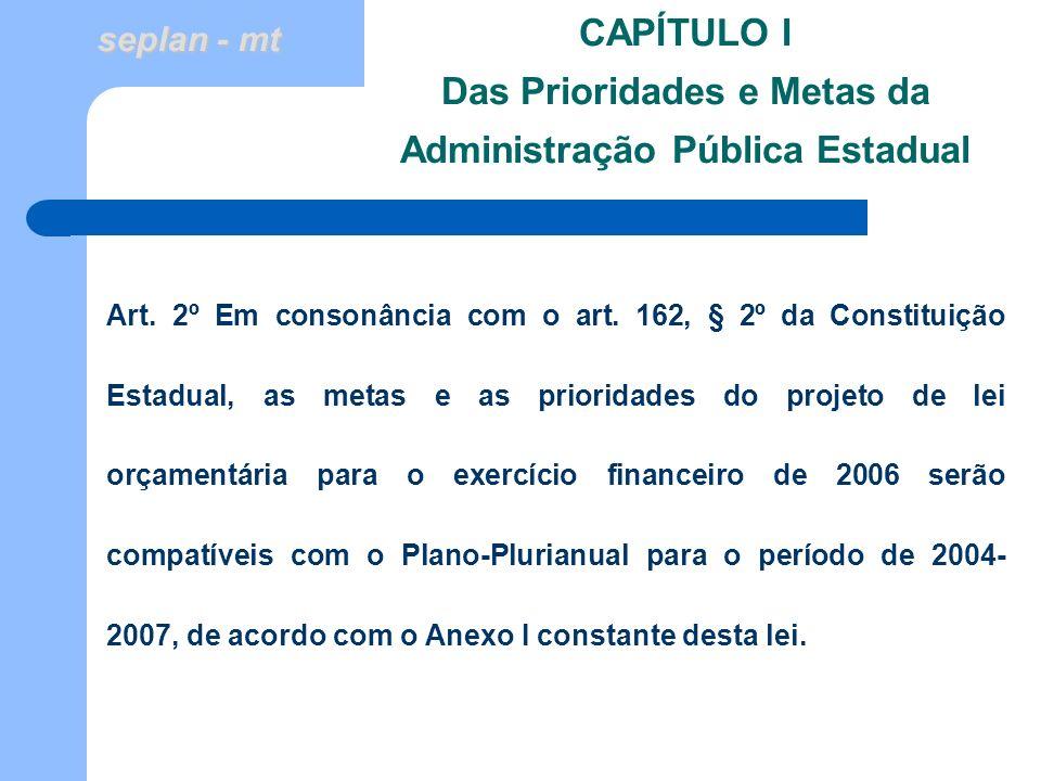 CAPÍTULO I Das Prioridades e Metas da Administração Pública Estadual