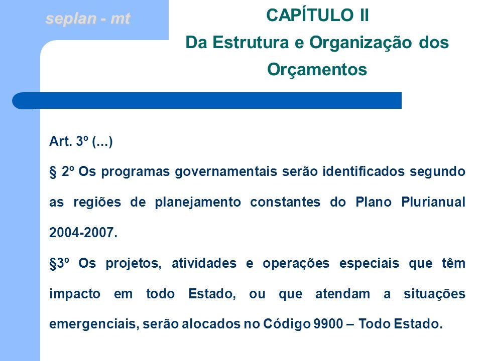 CAPÍTULO II Da Estrutura e Organização dos Orçamentos