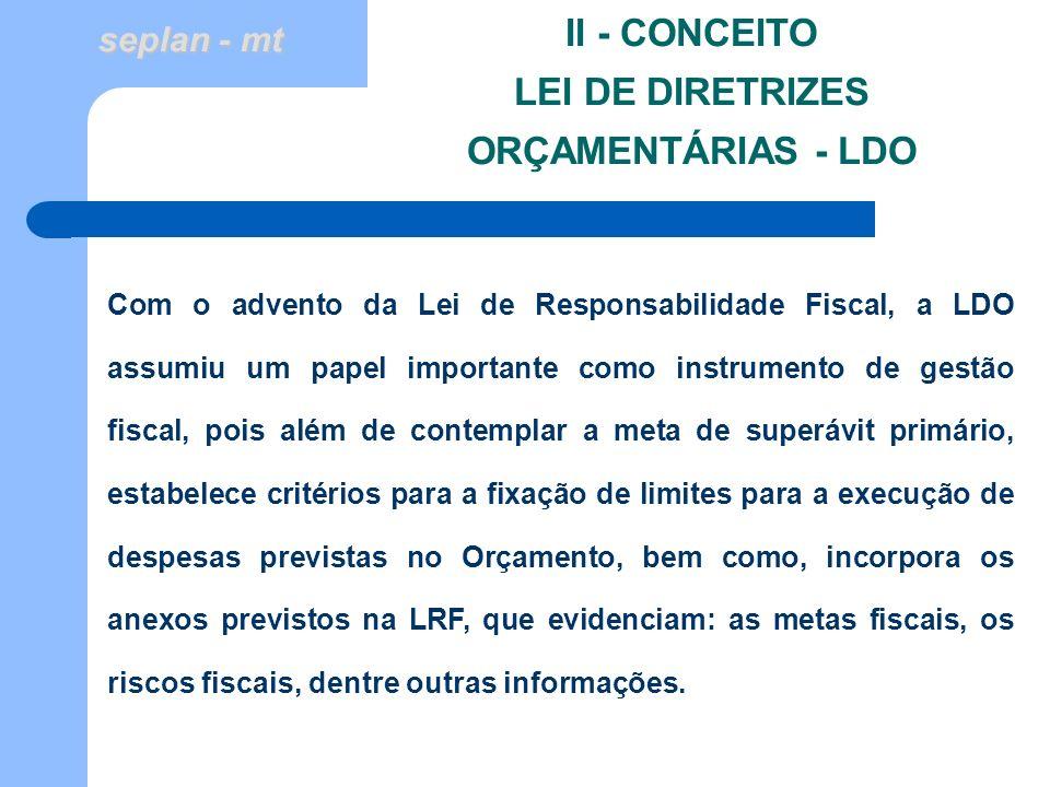 II - CONCEITO LEI DE DIRETRIZES ORÇAMENTÁRIAS - LDO