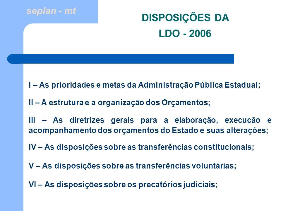 DISPOSIÇÕES DA LDO - 2006 I – As prioridades e metas da Administração Pública Estadual; II – A estrutura e a organização dos Orçamentos;