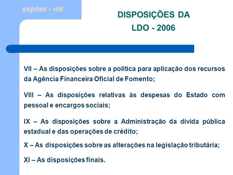 DISPOSIÇÕES DA LDO - 2006 VII – As disposições sobre a política para aplicação dos recursos da Agência Financeira Oficial de Fomento;