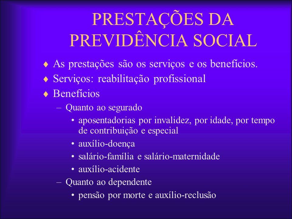 PRESTAÇÕES DA PREVIDÊNCIA SOCIAL