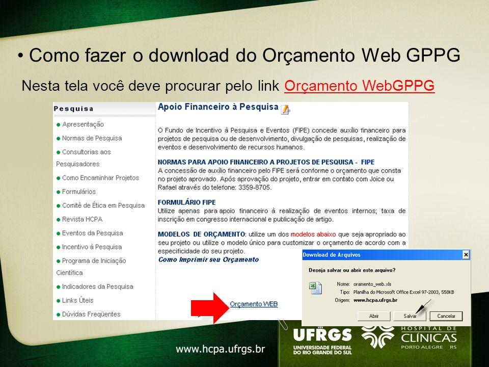 • Como fazer o download do Orçamento Web GPPG