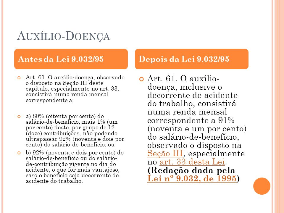 Auxílio-Doença Antes da Lei 9.032/95. Depois da Lei 9.032/95.