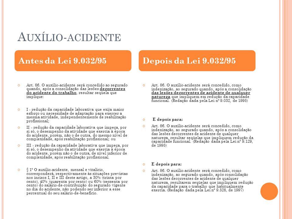Auxílio-acidente Antes da Lei 9.032/95 Depois da Lei 9.032/95
