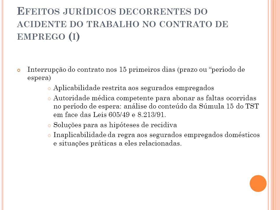Efeitos jurídicos decorrentes do acidente do trabalho no contrato de emprego (i)