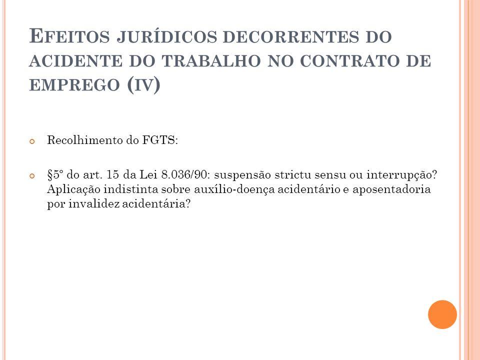 Efeitos jurídicos decorrentes do acidente do trabalho no contrato de emprego (iv)