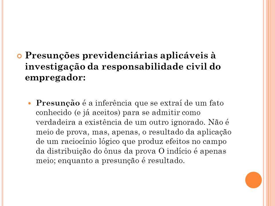 Presunções previdenciárias aplicáveis à investigação da responsabilidade civil do empregador: