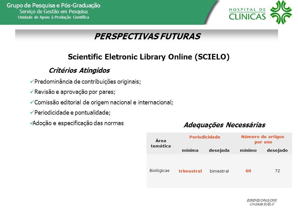 Scientific Eletronic Library Online (SCIELO) Adequações Necessárias